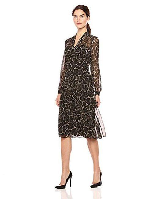 Anne Klein Black Long Sleeve Printed Georgette Inset Waist