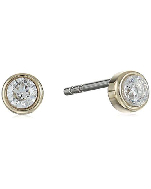 Fossil - Metallic Round Steel Earring Jacket - Lyst