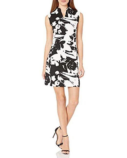 Joan Vass Black Printed Stretch Pique Cotton Dress