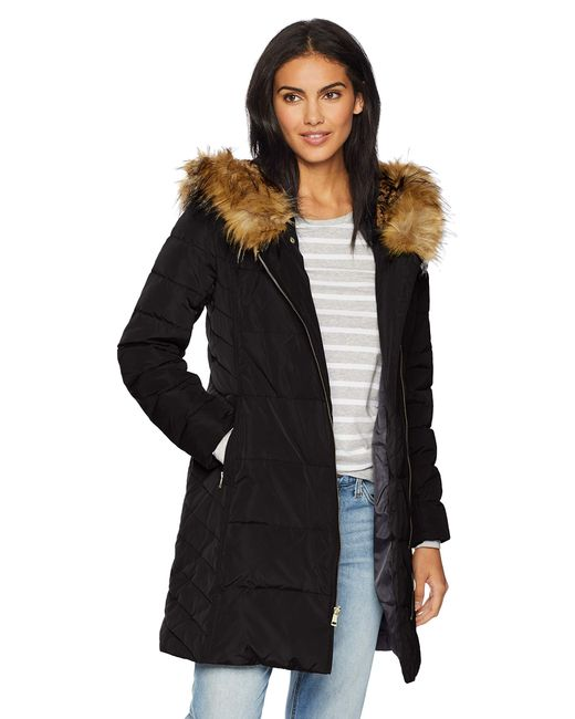 Cole Haan Black Taffeta Quilted Down Coat With Hood