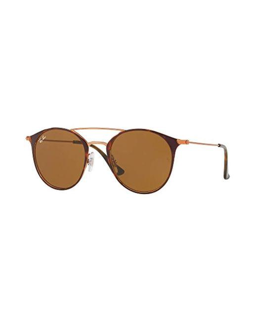 Ray-Ban Brown Round Browbar Sunglasses