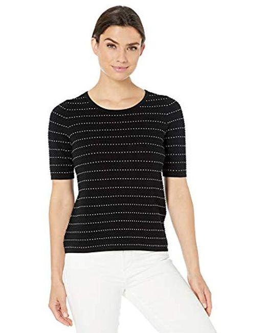 Calvin Klein Black Contrast Stitching Sweater Top