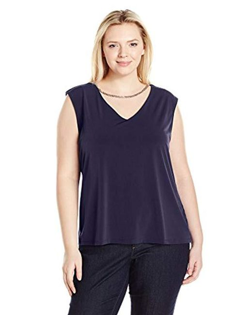 Calvin Klein - Blue Plus Size Sleeveless Top With Chain Necklace - Lyst