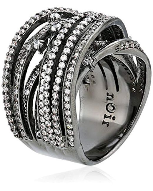 Noir Jewelry - Black Clear Pave Interlaced Wrap Ring - Lyst
