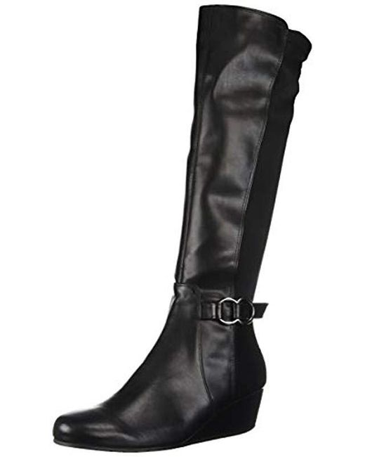 a80073831f2 Kenneth Cole Reaction - Black Tip Dress Wedge Heel Tall Shaft Boot Knee High  - Lyst ...