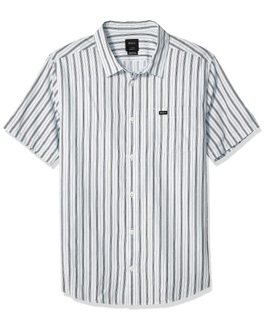 RVCA Mens Hacienda Stripe Button-Up Shirt
