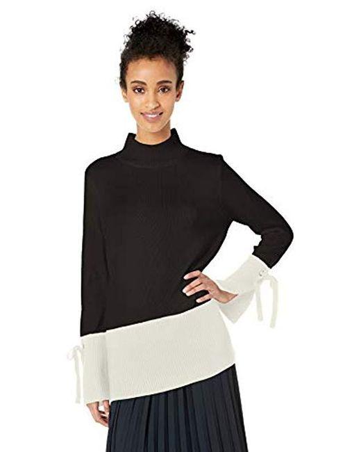 Calvin Klein Black Mockneck Colorblock Sweater With Tie