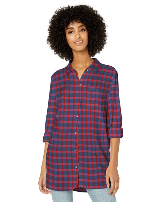 Modal Twill Long-Sleeve Button-Front Shirt Dress-Shirts Goodthreads de color Purple