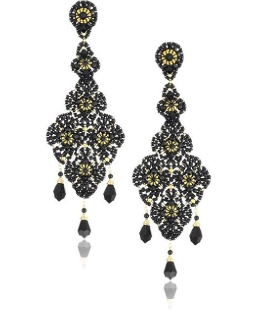 Miguel Ases - Onyx And Swarovski Black Lace Beaded Grand Drop Earrings - Lyst
