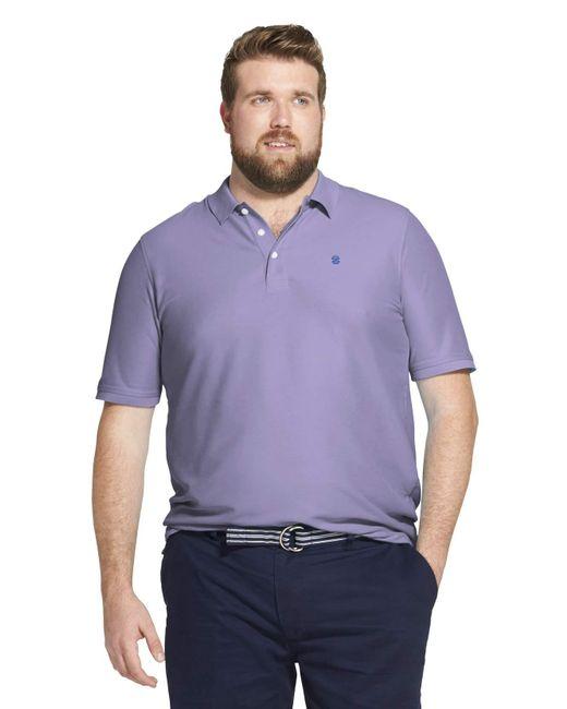 Izod Purple Tall Advantage Performance Short Sleeve Solid Polo for men