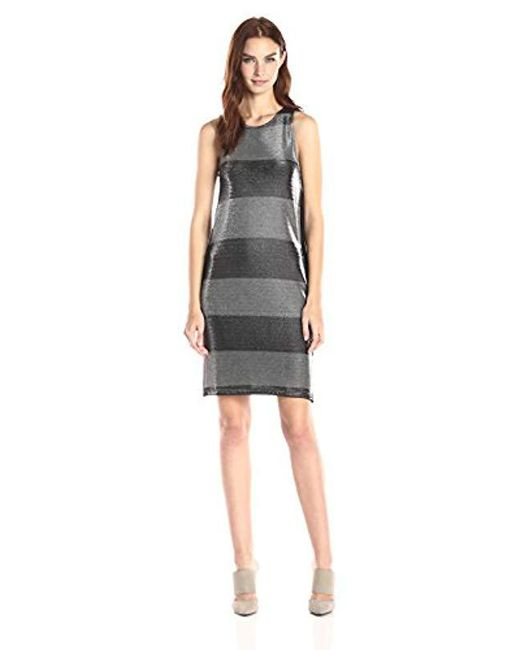 Three Dots - Metallic Stripe Dress With Ponte Back And Pockets - Lyst