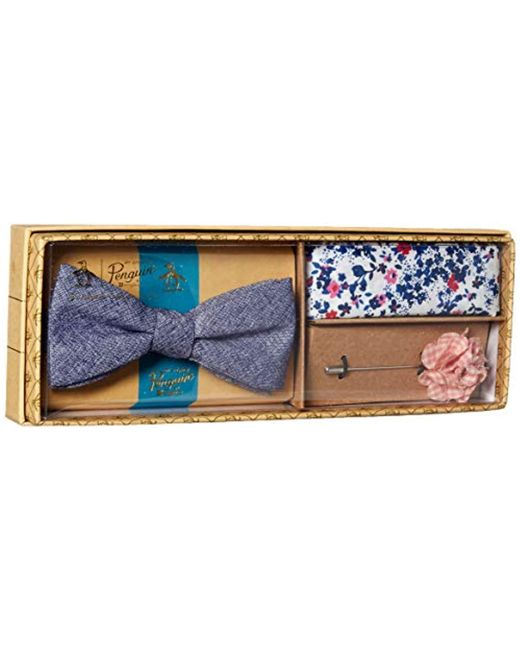 Original Penguin Blue 3-piece Solid Tie, Pocket Square & Lapel Pin Box for men