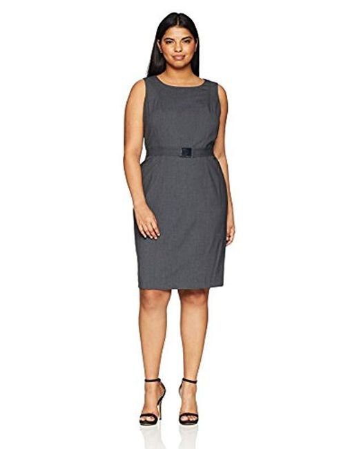 Women\'s Gray Plus Size Lux Belted Dress