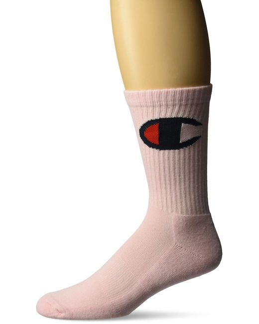 Champion Pink Big C Crew Sock for men