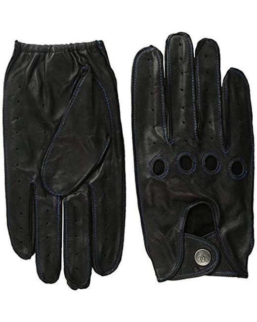 Original Penguin - Black Sheepskin Driving Gloves for Men - Lyst