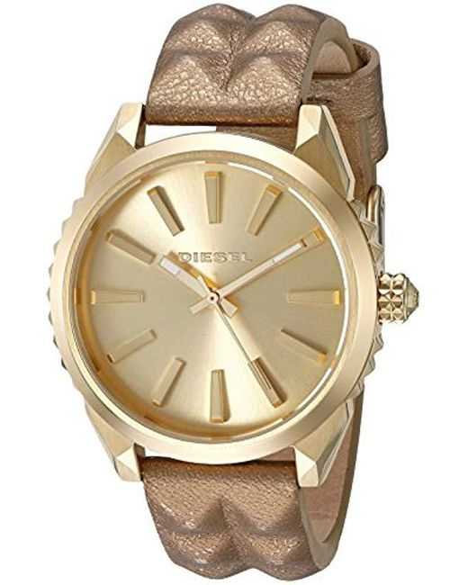 DIESEL Metallic 'nuki' Quartz Stainless Steel And Leather Watch, Color:gold-toned (model: Dz5516)