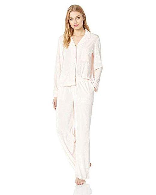 Splendid Pink Button Up Long Sleeve Top And Bottom Velvet Pajama Set Pj