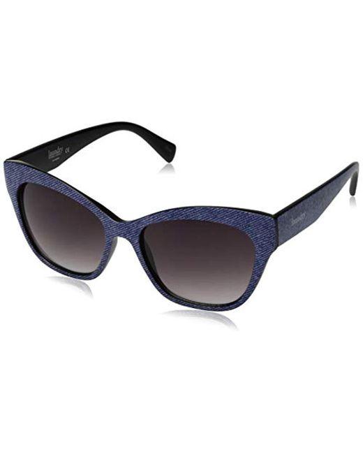 Laundry by Shelli Segal Blue Ls125 Dnm Polarized Cateye Sunglasses, Denim, 72 Mm