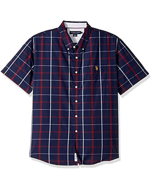 U.S. POLO ASSN. - Blue Classic Fit Short Sleeve Sport Shirt for Men - Lyst