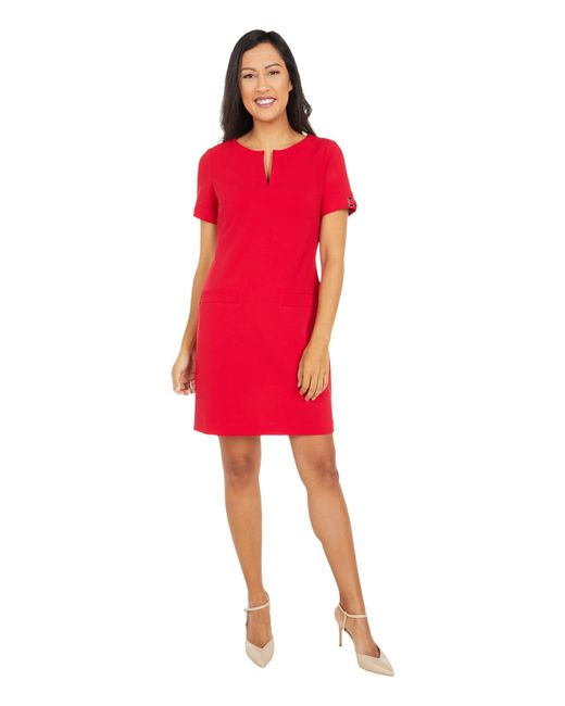 Tommy Hilfiger Red Scuba Crepe Two Pocket Dress