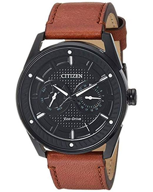 Citizen Black Drive Stainless Steel Japanese-quartz Watch With Leather Calfskin Strap, Brown, 22.2 (model: Bu4025-08e) for men