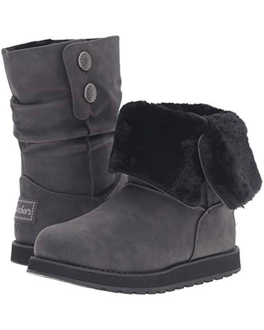 Skechers Women/'s Keepsakes Leatherette Mid Button Winter Boots