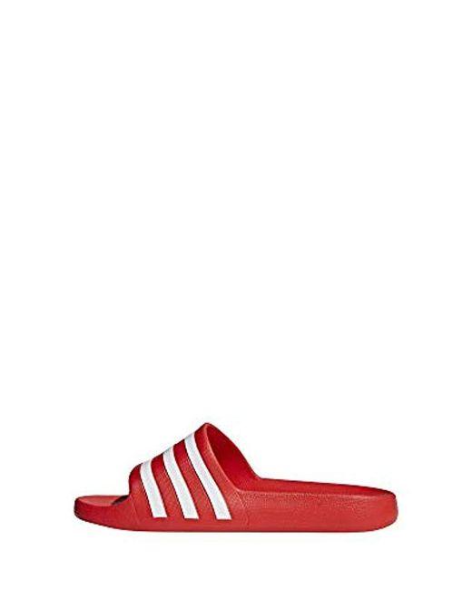 84bcfc017e3e1 adidas Unisex Adults' Adilette Aqua Beach & Pool Shoes in Red for ...