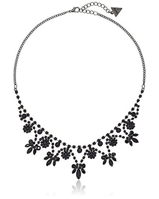 """Guess - Black """"basic"""" Jet Dainty Floral Necklace, 16"""" + 2"""" Extender - Lyst"""