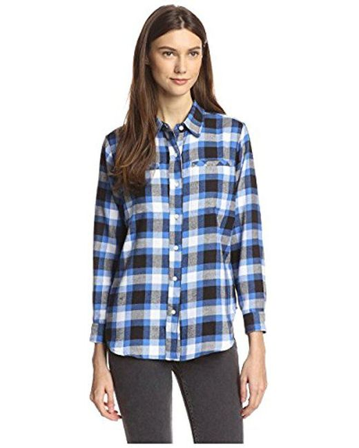 James & Erin - Blue Flannel Plaid High-low Shirt - Lyst