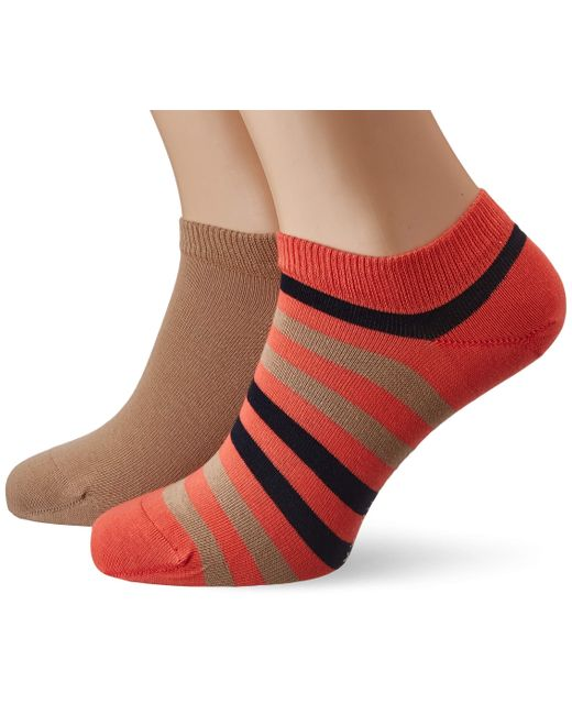Tommy Hilfiger Orange Th Duo Stripe Sneaker 2p Ankle Socks for men