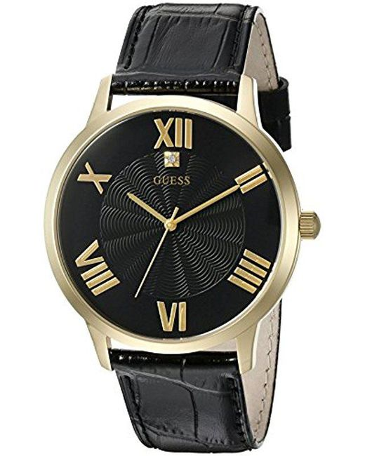 Men S Metallic U0794g1 Dressy Gold Tone Watch Plain Black Dial And Genuine Leather Strap Buckle