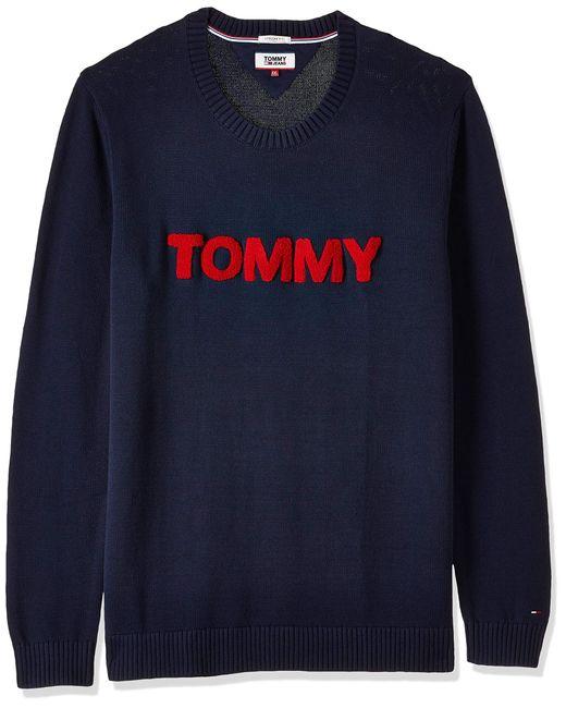 Tommy Hilfiger Bold Logo Langarm Pullover Blau in Blue für Herren