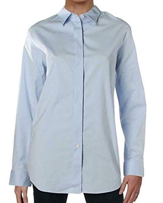 Theory Blue Long Sleeve Essential Buttondown Shirt