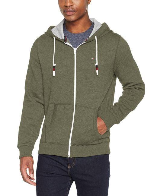 Tommy Hilfiger Green Essential Zipthru Hooded Sweatshirt for men