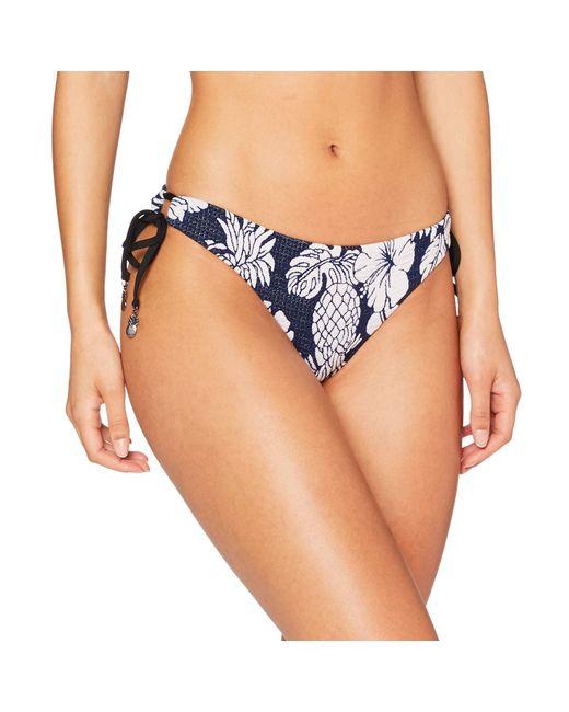 Seafolly Blue Brazilian Loop Tie Side Bikinihose