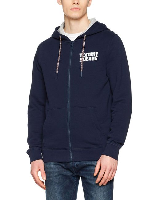 Tommy Hilfiger Blue Essential Graphic Zipthru Sweatshirt for men