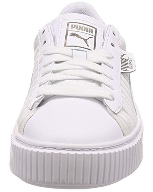 new arrival a9140 deb81 PUMA Basket Platform Ep Trainers in White - Save 27% - Lyst