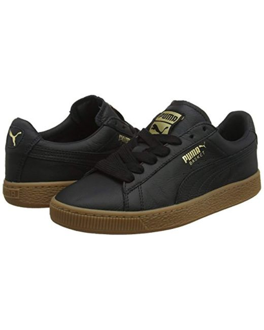 acd1bcb2467200 ... PUMA - Black Unisex Adults  Basket Classic Gum Deluxe Low-top Sneakers  for Men ...