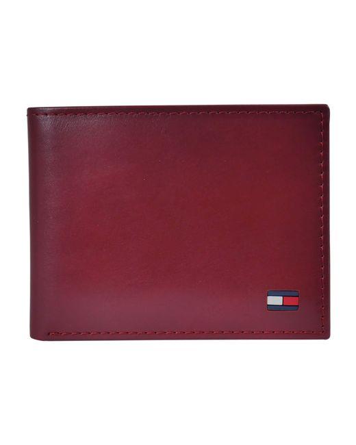 Tommy Hilfiger Men/'s Leather Passcase Wallet /& Dress Belt Bundle Gift Set