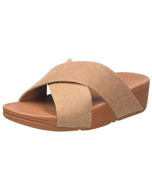 ba61b816692 Fitflop - Natural Lulu Cross Slide Sandals-shimmer-denim Open Toe - Lyst ...
