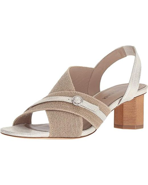 Donald Pliner Radly Metallic Linen Block Heel Sandals 4DCzbi