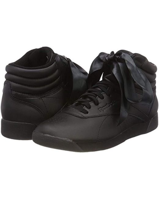 0f62d6447d7ca Reebok Freestyle Hi Satin Bow Top Trainers in Black - Save 81% - Lyst