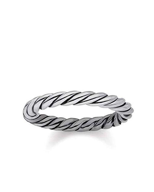 Thomas Sabo Unisex Ring Kordeloptik 925er Sterlingsilber, Geschwärzt TR2133-637-21 in Metallic für Herren