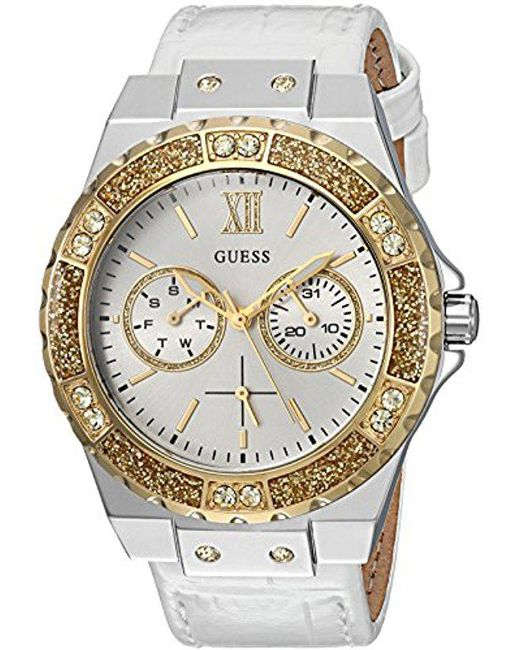 Guess - Metallic Stainless Steel Genuine Leather Crystal Accented Watch - Lyst
