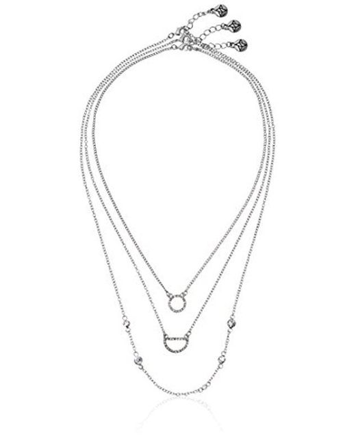BCBGeneration - Multicolor Little Layers Pave Layered Trio Pendant Necklace - Lyst