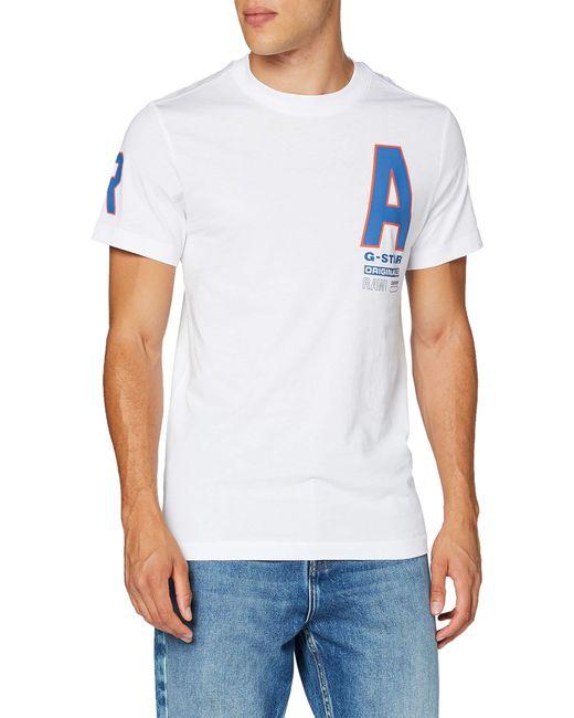 Multi Space Raw Graphic Straight Camiseta G-Star RAW de hombre de color White