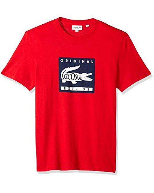 Lacoste - Red Short Sleeve Patch Graphic Jersey Regular Fit T-shirt, Th7461 for Men - Lyst