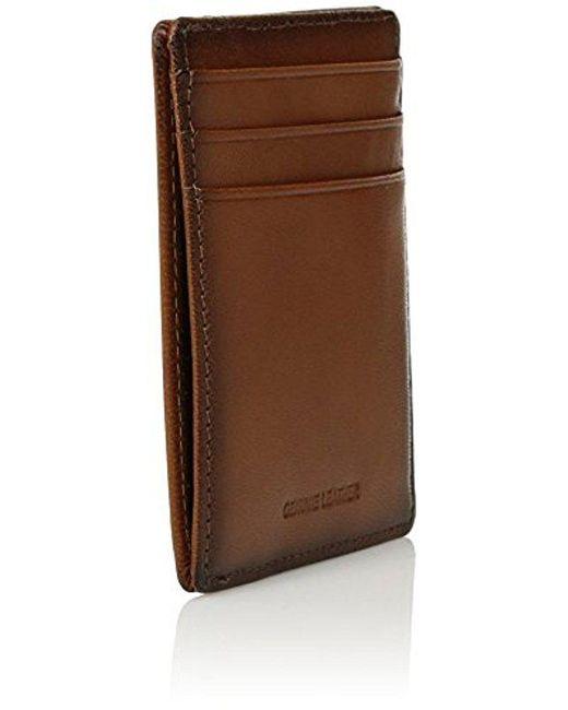 f881e9061e90 Men's Brown Portfolio Card Holder With A Sliver Tone Logo