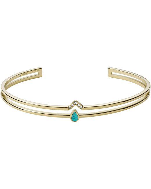 Bracelet chette Tranquil Summer Turquoise Bleu Acier Inoxydable Doré pour JF03732710 Fossil en coloris Metallic