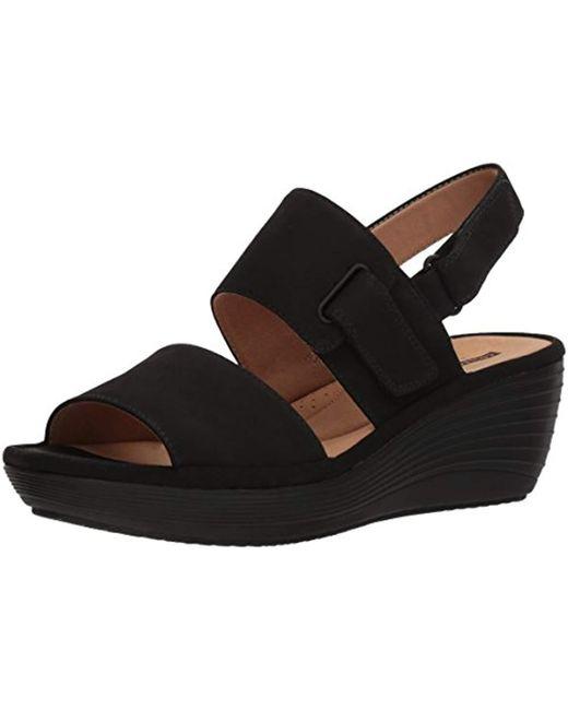 Clarks Black Reedly Breen Wedge Sandal